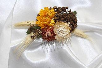Ozdoby do vlasov - Slamienkový hrebienok do vlasov - 8515724_