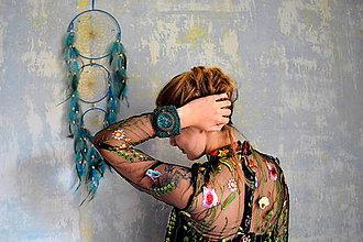 Náramky - Magic Emerald -  vyšívaný náramek - 8516936_