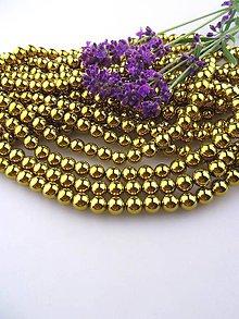 Minerály - hematit korálky zlaté 8mm - 8515753_