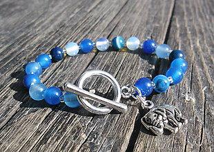 Náramky - ACHÁT modrý - OPÁL - 8515249_