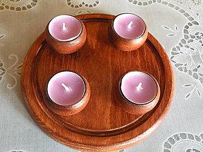 Svietidlá a sviečky - Sada 4 svícnů s podložkou - kaštan - 8514622_