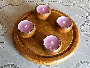 Dekorácie - Sada 4 dřevěných svícnů s podložkou - ořech - 8514693_