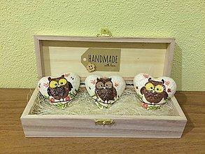 Hračky - Handmade magnetky so sovickami v drevenej krabicke - 8514283_