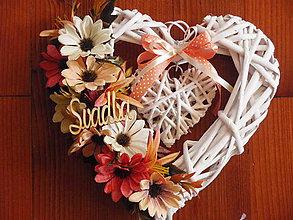 Dekorácie - Jesenné srdce s nápisom - 8515682_