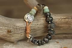 Náramky - Boho náramok z minerálov labradorit, amazonit - 8516820_