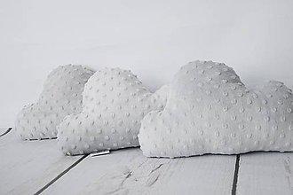 Textil - Minky grey obláčikový vankúšik - 8517565_