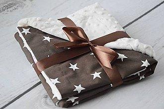 Textil - Minky creamy s čokoládovými hviezdami 70*70cm - 8517569_