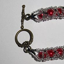 Náramky - červený náramok - 8519427_