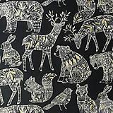 - slávnostná dizajnová 100 % bavlna so zlatotlačou z USA, 50 x 110 cm (zverinec) - 8517747_