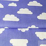 - modré mráčiky; 100 % bavlna, šírka 160 cm, cena za 0,1 m - 8518090_