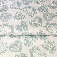 Textil - zelenomodré čipkované srdiečka 100 % bavlna, šírka 140 cm, cena za 0,5 m - 8518087_