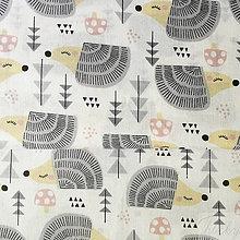 Textil - siví ježkovia; 100 % bavlna, šírka 160 cm, cena za 0,5 m - 8518097_