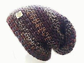 Čiapky - Chunky čiapka - tmavohnedý melír - 8518979_