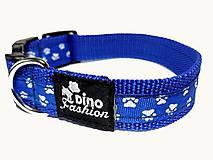 Pre zvieratká - Modrý obojok s labkami - 8520140_