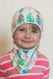 ee47fbb37800 Detské čiapky - Detská čiapka a nákrčník - pierka - 8520779