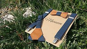 - Pánsky set- drevený motýlik a traky - 8518553_