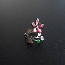 Prstene - Prsten tmavo ružový kvet - 8517400_
