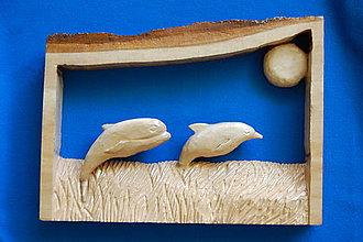 Obrazy - Drevený obraz - Skákajúce delfíny - 8519860_