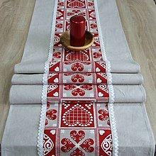 Úžitkový textil - Krása tradície červená - stredový obrus - 8518824_
