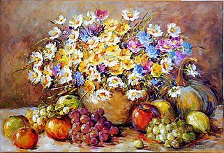 Obrazy - Jesenné zátišie s ovocím - 8519933_