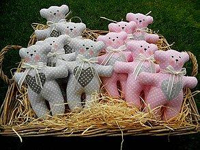 Darčeky pre svadobčanov - Medvedík Pink & Grey, 17 cm - 8517697_