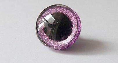 Galantéria - Extra veľké glitrové očka rúžové 24mm - 8520495_