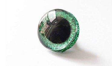 Galantéria - Extra veľké glitrové očka zelené 24mm - 8520496_
