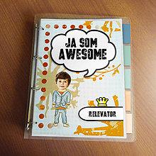 """Papiernictvo - Ja som awesome ,,všetkozošit"""" (abstraktný - denim boy) - 8520536_"""