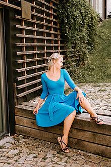 Šaty - Tyrkysové bambusové šaty Agnes - 8521451_