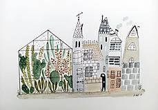 - Mesto skleník - ilustrácia obraz / originál maľba - 8521075_