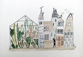 Obrazy - Mesto skleník - ilustrácia obraz / originál maľba - 8521075_