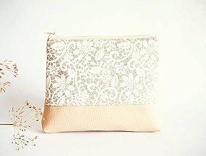 Taštičky - Kozmetická taška veľká režná - biela krajka - 8522525_