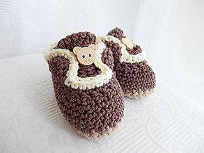 Topánočky - Háčkované papučky - medvedíky - 8524037_
