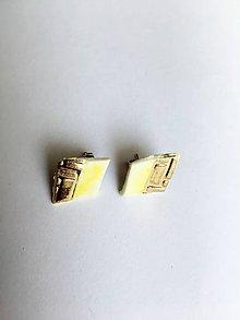 Náušnice - malé žlté napichovačky - 8521490_