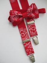 - Detský motýlik a traky - set v červenom s ľudovým vzorom - 8521955_