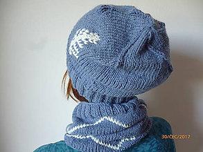 Čiapky - Dámska čiapka + nákrčník - set v modrom - 8523271_