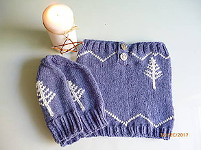 Čiapky - Dámska čiapka + nákrčník - set v modrom - 8523272_
