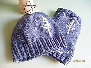 Čiapky - Dámska čiapka + nákrčník - set v modrom - 8523281_