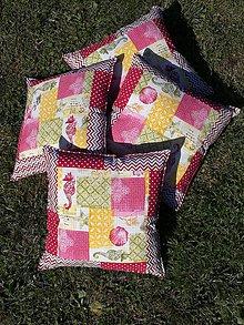 Úžitkový textil - Vankúš morský patchwork - bordový - 8521554_