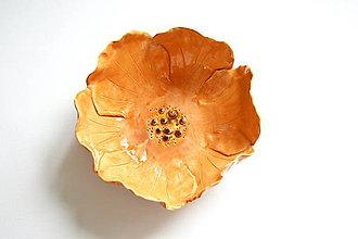 Nádoby - Keramická miska Oranžový kvet - 8521958_