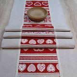 - Krása tradície červená v pásoch - stredový obrus 132x43 - 8523006_