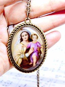 Náhrdelníky - Saint Mary Bronze Filigree Necklace / Bronzový náhrdelník Mária s Ježišom /0496 - 8524626_