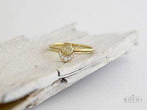 Prstene - 585 / 14k zlatý komplet prsteňov mušľa a mesiac - 8524909_