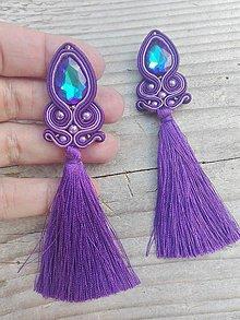 Náušnice - Teardrop with tassels...soutache (Purple/Violet-Blue AB) - 8526038_