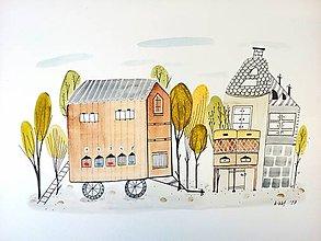 Obrazy - Dom včelára - ilustrácia obraz / originál maľba - 8524302_
