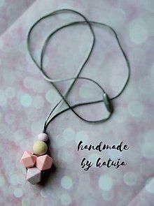 Detské doplnky - silikónový náhrdelník lila/ staroružová - 8524571_
