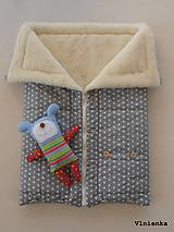 Textil - Deka a fusak DANIEL 2 v 1 100% merino Top Super wash Hviezdička šedá pastelová - 8524695_