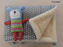 Textil - Deka a fusak DANIEL 2 v 1 100% merino Top Super wash Hviezdička šedá pastelová - 8524696_