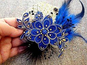 Ozdoby do vlasov - sponka alebo brošňa - kráľovská modrá + zlatá - 8524767_