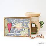 Papiernictvo - Kvetinová vintage pohľadnica so srdiečkom, čipkou a jutovým špagátom - 8525244_
